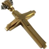 LUXURES ネックレス メンズ 316L サージカルステンレス クロス ペンダント 50cmボックスチェーン ギフトボックス入り (ゴールド)